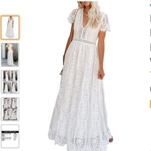 Sheilay Bohemian  Floral Lace Maxi Dress